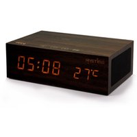 Wholesale Mini Clock Temperature - Wireless charging Wooden Speakers NFC Bluetooth 4.0 Alarm Clock Stereo Speaker LED Clock Wall Clock Temperature Display with retai