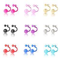 farbige stollen großhandel-Ohrringe für Frau Seite Ball Ohrstecker Große Glänzende Perle Ohrringe Mit Kleine Perle Bonbonfarben Geschenk Für Frauen Ohrstecker