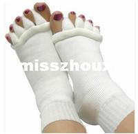 Wholesale Sleeping Massage Toe Socks - 600pairs lot Comfy Toes Sleeping Socks Massage Five Toe Socks Happy Feet Foot Alignment Socks