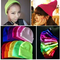 Wholesale Neon Beanie Men - Fashion Unisex Knitted Neon Women Beanie Girls Autumn Casual Cap Women's Warm Winter Hats Free Shipping