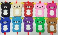 "Wholesale Iphone Cases Rilakkuma - 3D Rilakkuma Teddy Bear soft silicone gel rubber Case For iPhone 6 (4.7""inch) Cute Fashion skin cover"