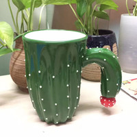 Wholesale Pottery Bottles - Creative 400ml ceramics Bottle cup cute cartoon cactus porcelain 3D Three-dimensional water cup green style coffee mugs wholesale for lover