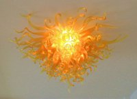 Wholesale Light For Mouth - Hot Sale 100% Mouth Blown Borosilicate Murano Glass Dale Chihuly Art Gold Chandeleir Glass Ceiling Light for Hotel Home Decoration