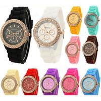 Wholesale Vintage Nurse - New Fashion Geneva Watches Vintage Golden Quartz Watches Crystal Rhinestone Watches Silicone Strap Wrist Watch For Nurse Women