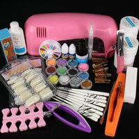 Wholesale diy gel nails online - Hot Sale Professional Manicure Set Acrylic Nail Art Salon Supplies Kit Tool with UV Lamp UV Gel Nail Polish DIY Makeup Full Set