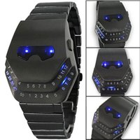 Wholesale Snake Led Lights - Fashion Luxury Watches Iron Man Cobra Snake Head Wrist watches Black with Blue Light LED Mens Stainless Steel digital watch for Men