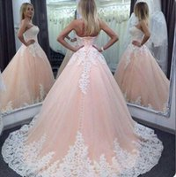 vestidos de quinceanera rosa branco venda por atacado-2020 Sexy Pink Quinceanera vestido de baile Vestidos Querida White Lace apliques Tulle doce 16 Corset Voltar Plus Size Partido Prom Vestidos