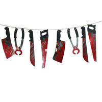 ingrosso decorazione della ghirlanda di halloween-Spooky Halloween Party Haunted House appendendo la decorazione della bandiera della garland