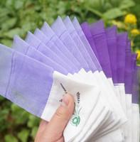 Wholesale Lavender Sachets Wholesale - 100pcs lot Purple Cotton Organza Lavender Sachets DIY Dried Flower Sweet Bursa Wardrobe Mouldproof Fume Gift Bag