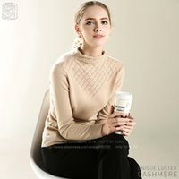 Wholesale Fine Knit Sweaters - Wholesale- WOMEN Fine Slylish 100% Goat Cashmere Liberal Collar Chest Rhombic Hollow Out Pullover pure pashm knit top sweater female jumper