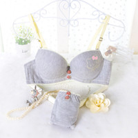 Wholesale Girls Bra 36 - 2015 new comfortable women bra set cute hello kitty 32 34 36 A B cup young girl sexy cotton bamboo underwear suit drop shipping