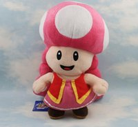 Wholesale Mario Plush Toadette - Super Mario Bros toadette Mushroom Girl Plush Toy 7'' New Brand High Quality Doll toys and gifts