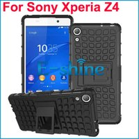 2 en 1 híbrido Heavy Duty TPU + PC Case Rugger Armor Hard Kickstand contraportada para Sony Xperia Z4 Z4 Mini 8 colores por ePacket
