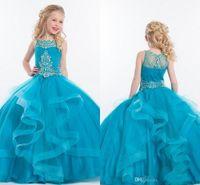 organza junior nedime elbiseleri toptan satış-Güzellik Kızlar Için Pageant Elbise Boncuk Kristaller Katmanlı Çiçek Kız Elbise Gelinlikler Kat Uzunluk Organze genç Gelinlik Giydirme