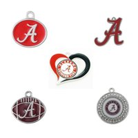 Wholesale alabama charms - 5 Styles Enamel College Of Alabama Crimson Tide Pendant Charms For Fashion DIY Sport Jewelry