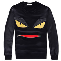 Wholesale Leather Sleeve Sweatshirt Men - fashion little monster 2018 Men's Sweatshirts brand designer Sweatshirts leather splicing fashion men's tops pullovers black size S-4XL