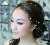 Wholesale Wedding Accesories For Hair - Cheap Modest Beading Hair Accesories Pearls Wedding Accessories 1M One Piece Sexy Elegant Hair Fascinators New Arrive Fashion For Bridal