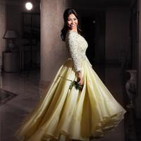 vestido de fiesta largo transparente amarillo al por mayor-2015 amarillo de manga larga de encaje una línea Myriam Fares prom vestidos Nueva llegada de Arabia árabe Dubai High-Low transparentes vestidos de bola sin respaldo