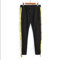 Wholesale Yellow Boys Trousers - Tops Quality 6colors yellow ribbon Trousers Hiphop Men Boy Streetwear Hip Hop Joggers Pants Skateboard Sweatpants