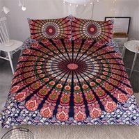 Mandala Ensemble de literie Queen Soft Bedclothes Twill complet Queen King Bohemian Print housse de couette avec taies d'oreiller 3pcs Bed Set Accueil