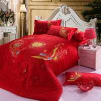 Wholesale Dragon Quilt Set - Chinese traditional red wedding comforter bedding sets cotton queen king dragon phoenix print duvet quilt cover flat sheet 4 5pc bed linens