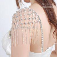 Wholesale Trendy Jewerly - wedding bridal Jewelry Prom Party BRA Shoulder STRAPS Diamonte Detachable Crystal Tassel Dress Bra Strap jj002
