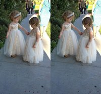 Wholesale Toddler Pageant Dress Sequined - 2016 Lovely Gold Sequined Flower Girls Dresses With Straps Tulle Sequins Kids Formal Dresses Floor Length Girls Pageant Dress Ball Gowns