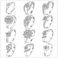Wholesale Swarovski Crystal Sterling - 925 Sterling Silver Plated Diamond Rings Zirconia Charms Rhinestone Swarovski Crystal Rings Wedding Valentine Lover Gift Mixed Size 7 & 8