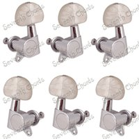 Wholesale guitar parts pegs - A Set White Pearl Button Sealed String Tuning Pegs Tuners Machine Head for Acoustic Electric Guitar Replacement parts - Chrome
