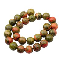 Wholesale Unakite Loose Beads - Natural Gemstone Unakite 14mm Round Beads for DIY Making Charm Jewelry Necklace Bracelet loose 28PCS Stone Beads For Wholesales