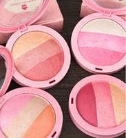ingrosso mineralizzare il makeup blush-PRO Baked Makeup Palette 3 colori Blusher al forno arrosto blush evidenziatore glitter shimmer mineralize blush crema-come polvere Makup kit fard