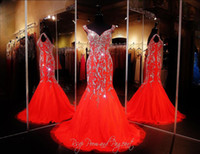 Wholesale Chiffon Sweetheart Bling Long Dress - 2018 Bling Sexy Evening Dresses Wear Crystal Major Beading Long Red Chiffon Cap Sleeves Mermaid Sweep Train Formal Prom Party Pageant Gowns
