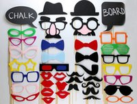 Wholesale Wedding Favors Glass Photo - 40 Funny Wedding Photo Props Moustache Lips Hats Glasses on A Stick Christmas Birthday Party Favors Gift Free Shipping