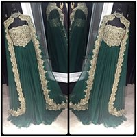 Wholesale Indian Chiffon Evening Gowns - Moroccan Kaftan Arabic Designer Evening Dresses Prom Gown Bollywood Maxi Indian With Lace Appliques