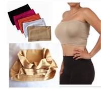 Wholesale Seamless Bandeau - Super elastic bandeau bra seamless tube sport top strapless bra 6pcs lot free shipping