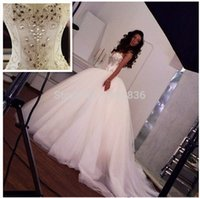Wholesale Sweetheart Strapless Sparkling Wedding Dress - 2015 Sparkling Ball Gown Wedding Dresses Crystal Sexy Luxury Big Train Bandage Wedding Dresses Ball Gown Tulle Strapless Vestido De Renda