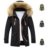 Wholesale Mens Fur Lined Parka - S5Q Mens Winter Fur Collar Lining Thick Parka Overcoat Padded Trench Jacket Coat AAAFLS