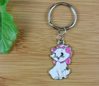 Wholesale Diy Cat Bag - 50PCS Fashion Vintage White Enamel Cute Cat Charms Keychain Ring For Keys Car DIY Bag Key Chain Handbag Gift Accessories N1579