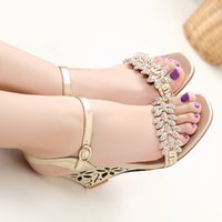 Wholesale Size 33 Wedges - 2016 Large size 33-43 high wedge heel solid sheepskin genuine leather rhinestones open toes buckle strap lady shoes women sandals 901