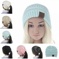 Wholesale Knit Skull Cap Girls - New kids girls CC Ponytail Caps CC Knitted Beanie Fashion children girl Winter Warm Hat Back Hole Pony Tail Autumn Casual Beanies skull caps