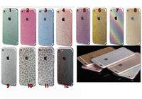 Wholesale Iphone Glitter Side Sticker - For Iphone 7 6 6S 6+ Plus 4 4S 5 5S 5SE 5C Full Body Bling Diamond Glitter Rainbow Leopard Front Back Sides Skin Sticker cover 10pcs