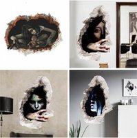 Autocollant mural 3D Halloween Décoration fantôme féminin Bloody Broken Ghost Wall Sticker Home Decor Mural Party Art 24