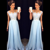 vestido transparente ligero al por mayor-2018 Elegant Light Sky Blue Vestidos de baile Sheer Neck Cap Sleeves apliques de gasa Hasta el suelo Vestidos formales Modest Evening Gowns Zipper Up