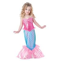 Wholesale Little Girls Mermaid Costumes - Baby Girls Clothes The Little Mermaid Ariel Kids Girls Dresses Princess Cosplay Halloween Costume