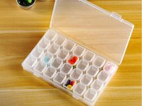 cajas de almacenamiento de cuentas al por mayor-28 ranuras ajustables de plástico transparente caja de almacenamiento caja joyería maquillaje organizador de cuentas para la habitación en casa caja