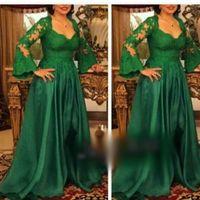 Wholesale Sweetheart Court Train Taffeta Tulle - Green A line Lace Applique Middle East Evening Dress 2016 Hot Sale Sweetheart Neck Long Sleeve Dubai Prom Party Dress Floor Length