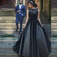Wholesale Ladies Short Beaded Dress - 2016 Gothic Black Prom Dresses A Line Ladies Special Occasion Gowns with Boat Neck Couples Fashion Party Dresses
