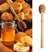 Wood Disposable Spoons Wholesale- 1pc Wooden Honey Spoon Coffee Stir Bar Honey Dipper Stick For Honey Jar Long Handle Mixing Stick Stirring Rod