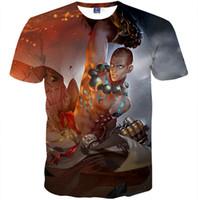 gedruckte blinds groihandel-Lee Sin T-Shirt The Blind Monk - Kurzärmliges Kleid Spiel Freizeit-T-Shirts Straße Druckbekleidung Unisex-Baumwolle T-Shirt