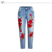 Wholesale Women Straight Leg Jeans - 2018 Newest Skinny Jeans 3D Floral Embroidered corp jeans Women High Waist Denim Straight leg jeans